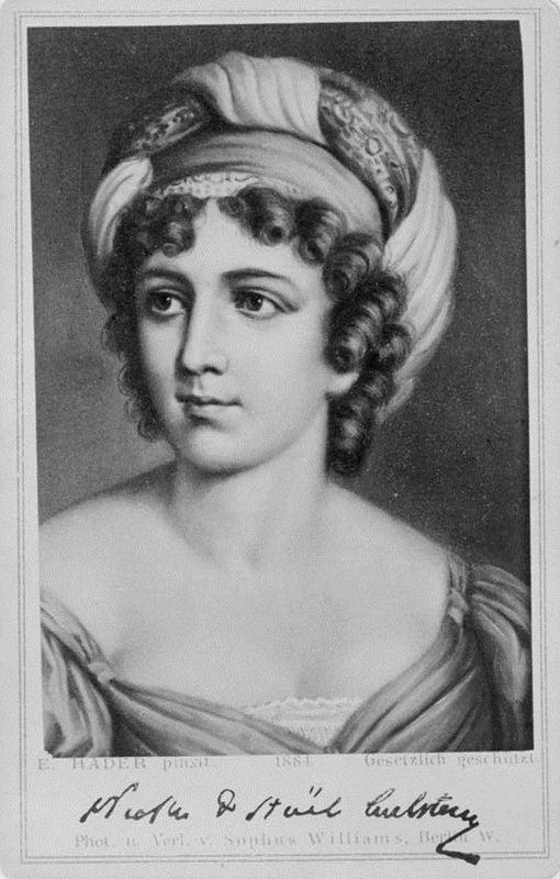 Anne-Louise Germaine Necker, baronesa de Staël-Holstein (1766 -1817), conhecida como Madame de Staël