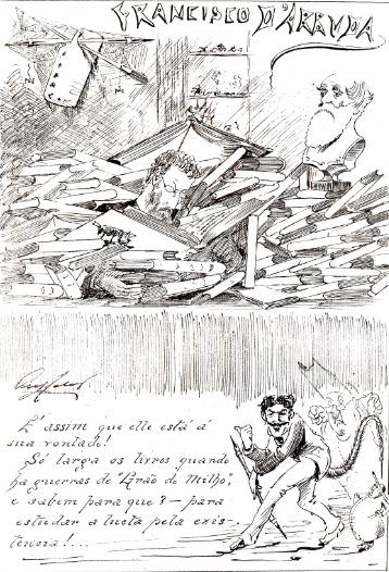 Caricatura do naturalista Francisco de Arruda Furtado, da autoria de Augusto Cabral, no jornal humorístico O Binóculo (Ponta Delgada, 1884).