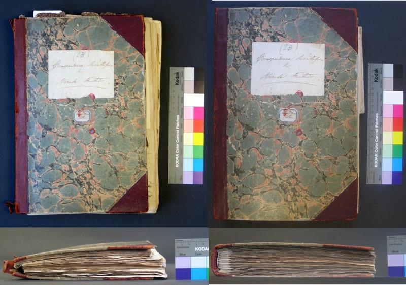 Imagens relativas à conservação e restauro do Fundo de Francisco de Arruda Furtado