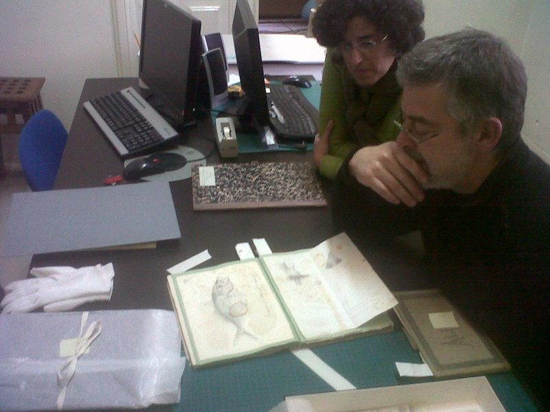 Pedro Salgado no primeiro contacto com os desenhos de Francisco de Arruda Furtado, junto com membros da equipa do projeto.