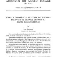 Sobre a ocorrência na costa de Sesimbra de jovens de Chromis chromis (L.) (Pisces, Pomacentridae)