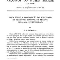 Nota sobre a composição do substrato de Petricola lithofaga Retzius (Bivalvia, Petricolidae)