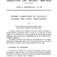Régime alimentaire de quelques Rajidae des côtes portugaises