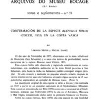 Confirmación de la especie Blennius rouxi (Cocco, 1833) en la costa vasca