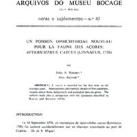 Un poisson Ophichthidae nouveau pour la faune des Açores: Apterichthus caecus (Linnaeus, 1758)