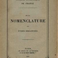 De la nomenclature des êtres organisés