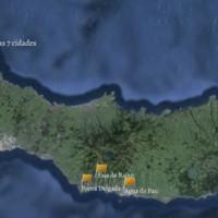 Mapa da ilha de São Miguel, Açores, com os locais de colheita das espécies terrestres