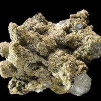 Amostra mineralógica da mina da panasqueira mostrando Siderite sobre Quartzo